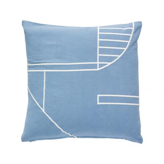 Hübsch sofapude - blå/hvid