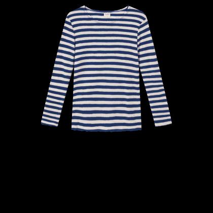 by basics bluse - hvid/marineblå