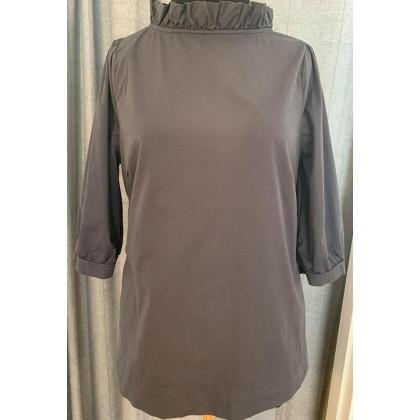 by basics bluse med pufkrave - mørkegrå