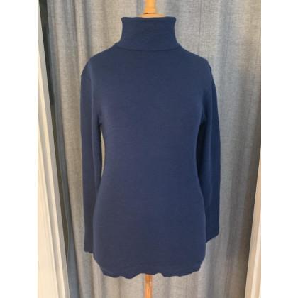 by basics bluse med rullekrave - marineblå