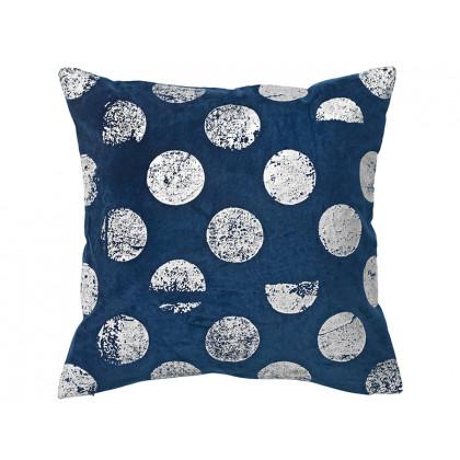 Cozy Living pudebetræk Velvet Cotton Silver Dots blå