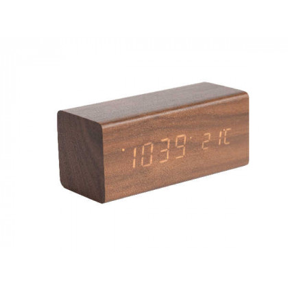 Alarm clock Block dark wood veneer, white LED