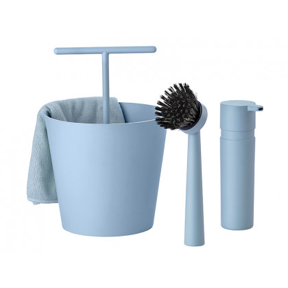 Zone opvaskesæt Bucket støvet blå - Sæt i 4 dele