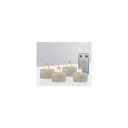 Sompex LED-fyrfadslys - sæt med 4 stk og fjernbetjenning